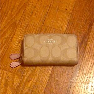 Coach small double zip wallet in Petal pink